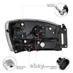 06-08 Dodge Ram 1500 2500 3500 Black Dual Halo Projector LED Headlights/Lamps