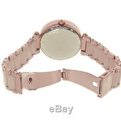 100% New Michael Kors MK6176 Parker Rose Gold Pave Crystal Logo Ladies Watch