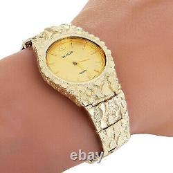 10k Yellow Gold Nugget Link Geneve Wrist Watch Adjustable 7.5-8 50 grams