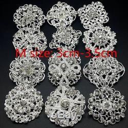 12pc lot Gold/Silver Rhinestone Crystal Brooch Pin DIY Wedding Bouquet 3cm-3.5cm