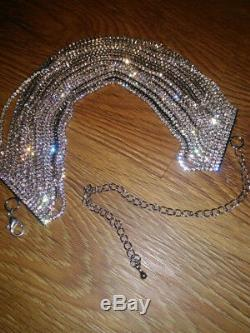 14k White Gold GP Multi-Chain Choker Necklace made with Swarovski Crystal Stone