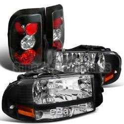 1997-2004 Dodge Dakota Crystal Headlights+Tail Brake Lamps Black