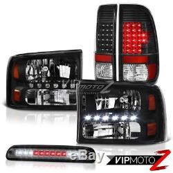 1999-2004 Ford F250 XL Crystal Black Headlights LED Tail Lamps Smoke Third Brake