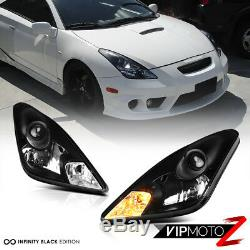 2000-2005 Toyota Celica GT GTS JDM Crystal Black Front Headlights Lamps Assembly