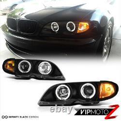2002-2005 BMW E46 4DR Sedan Black Halo Projector Headlight Corner Lamp 2003 2004