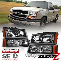 2003-2006 Chevy Silverado 1500 2500 3500 Black Corner Bumper Headlights Foglamps