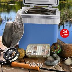 24L Portable 12V AC/DC Car Picnic Camping Travel Warmer & Cooler Box Mini Fridge
