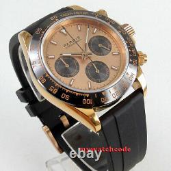 39mm PARNIS rose dial sapphire rose golden case Chronograph quartz mens watch