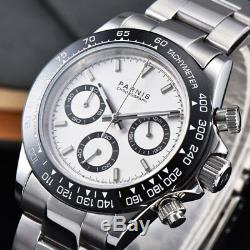 39mm PARNIS white dial sapphire crystal solid full Chronograph quartz mens watch