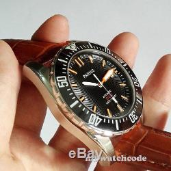 43mm PARNIS black dial Ceramic bezel sapphire 20atm automatic mens diving watch