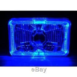 4X6 Blue LED Halo Angel Eye Halogen Headlights Headlamp Bulbs Crystal Clear Set