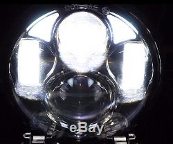 5-3/4 White LED Projector Light Bulb Headlight Black Crystal Clear Set H5006
