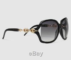 $500 Gucci Sunglasses Black Gg 3597/n/f/s Reweu Swarovski Crystal Marina Chain