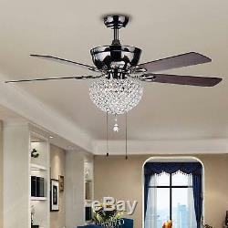 52 Crystal Ceiling Fan Chandelier Light Lighting Fixtures Home 3-Light Metal