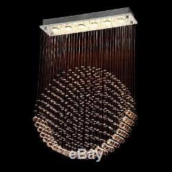 6 Light Rain Drop LED Crystal Rectangle Chandelier/Flush Mount for Dining room