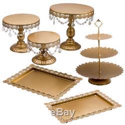 6PCS Wedding Cake Stand Crystal Decor Metal Cupcake Holder with Crystal Plates Set