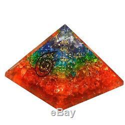 7 Chakra Crystal Orgone Pyramid 70mm Meditation Yoga Energy Generator