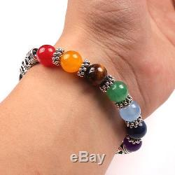 7 Chakra Gemstone Bracelet Heart Pendant Lava Stone Crystal Reiki Healing Mother