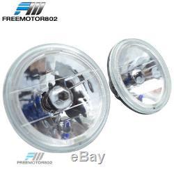 7 Inch Round Diamond Cut Headlight Sealed Beam Halo Ring Lamp H4 Conversion Pair