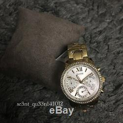 AUTHENTIC GUESS LADIES' MINI SUNRISE WATCH STONE GOLD Brand New RRP$349