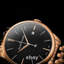 Alexander Men's Swiss Made Rose Gold Stainless Steel Link Bracelet Quartz Watch