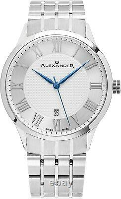 Alexander Silver Dial Stainless Steel Swiss Made Slim 9.5mm Men's Dress Watch