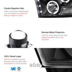 Angel Eye Halo LED Projector Black Headlights Fit 09-18 Dodge RAM 1500 2500 3500
