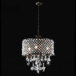 Antique black Crystal Chandelier Drum pendant ceiling lighting Fixture Lamp