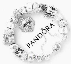 Authentic Pandora Bracelet Silver My Wife the Love of My Life European Charms