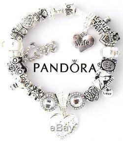 Authentic Pandora Bracelet Silver Wife Love Story European Charms