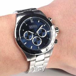 BRAND NEW HUGO BOSS HB1512963 Mens Ikon Silver Blue Face Chronograph Watch
