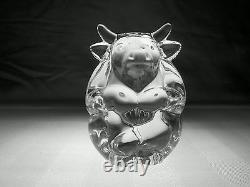 BRAND NEW STEUBEN GLASS BULL Hand Cooler Signed Crystal Paperweight
