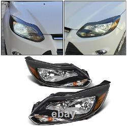 Black 2012 2013 2014 Ford Focus Headlights Headlamps Aftermarket Pair Left+Right