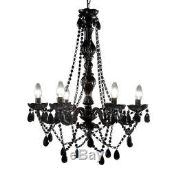 Black Romance Chandelier Large 6 Arm Retro Crystals Gypsy Ceiling Light Lamp New