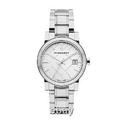 Brand New Burberry BU9100 Stainless Steel Silver Check Dial 34 mm Women's Watch