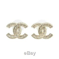 Brand New CC Logo Earrings Studs Gold Tone Brass Crystal With Original Box