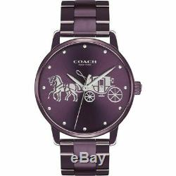 Brand New Coach Grand 14502923 Plum Purple Stainless Steel Quartz Women's Watch