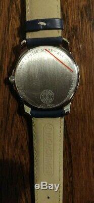 Brand New Corum Memotime Save The Sea Quartz Watch Blue Face Leather Strap