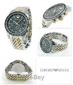 Brand New Emporio Armani Tazio Ar6088 2 Tone Blue Dial Men's Chronograph Watch