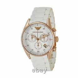 Brand New Emporio Armani White Silicone Ar5920 Chronograph Ladies Womens Watch