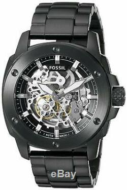 Brand New Fossil Machine Automatic Me3080 Mens Modern Skeleton Dial Black Watch