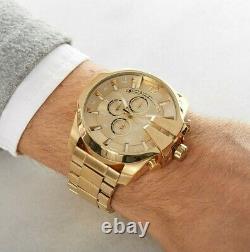 Brand New Genuine Diesel Dz4360 Yellow Gold Stainless Steel Mens Watch