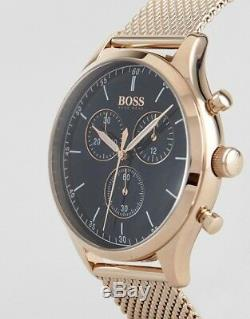 Brand New Hugo Boss 1513548 Rose Gold Mesh Bracelet Black Dial Mens Watch Uk