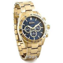 Brand New Hugo Boss Hb 1513340 Mens Ikon Steel Gold Blue Dial Chronograph Watch