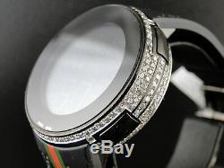 Brand New Mens 5 Row Black Pvd I Gucci Digital White Diamond Watch 5.5 Ct