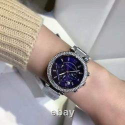 Brand New Michael Kors Mk6117 Parker Silver Purple Dial Womens Watch Uk