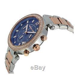 Brand New Michael Kors Mk6141 Two Tone Steel Blue Dial Women Watch Uk Gift