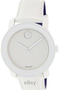 Brand New Movado 3600230 Glitter Silver Dial Pearlized White Leather Strap Watch
