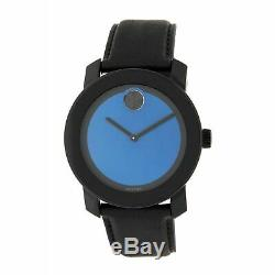 Brand New! Movado Bold 3600481 Blue Dial Black Leather Strap Mens Watch