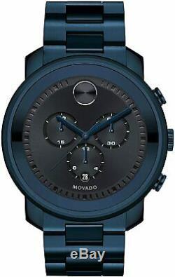 Brand New Movado Bold Navy Blue Chronograph Men's Watch 3600279
